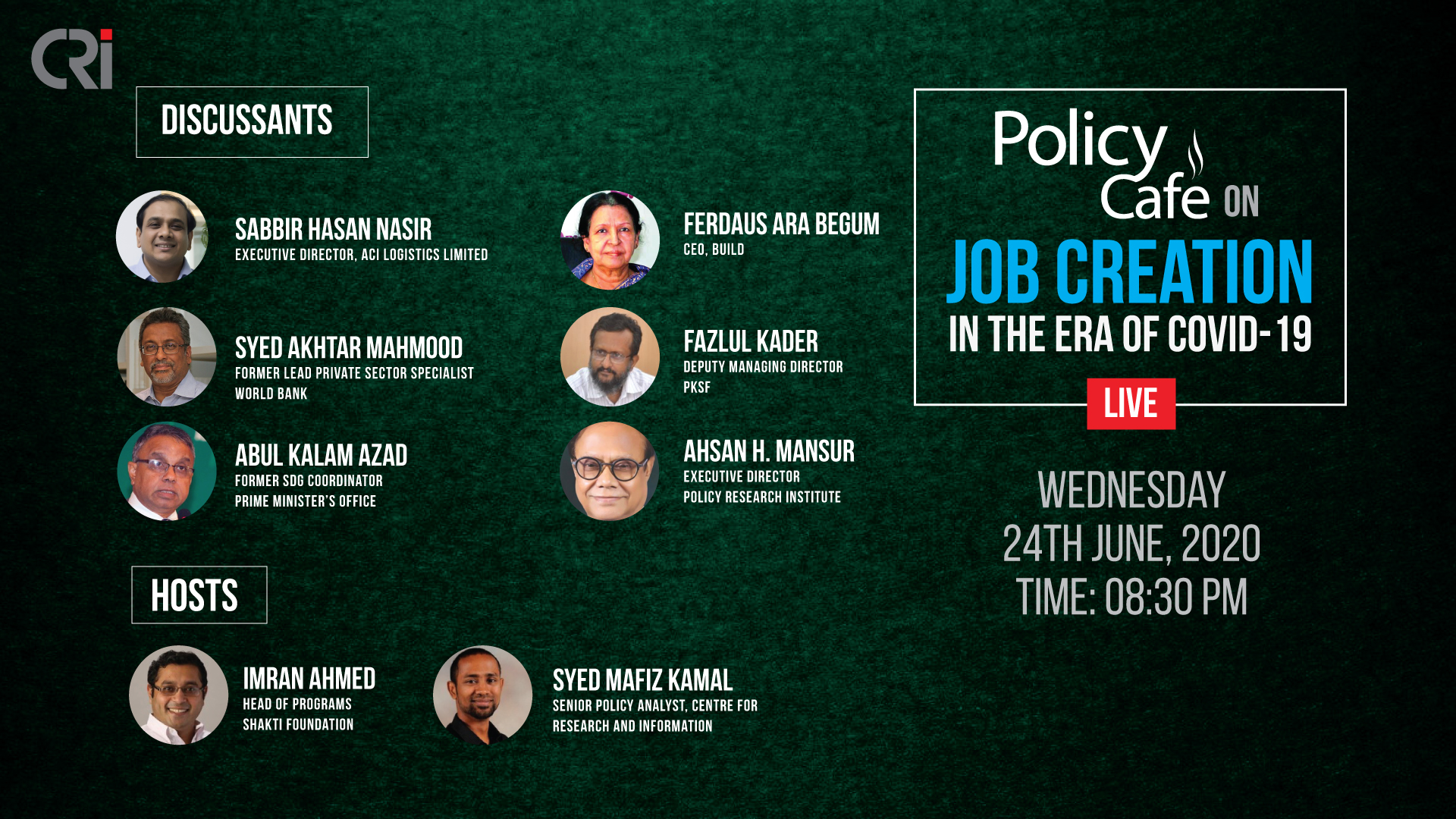 Policy Café on Job Creation in the Era of COVID-19